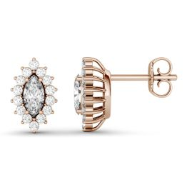 1.32 CTW DEW Marquise Forever One Moissanite Halo Stud Earrings 14K Rose Gold