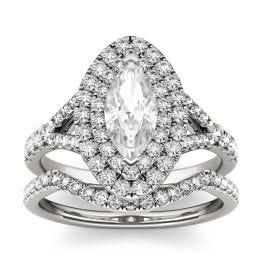1.87 CTW DEW Marquise Forever One Moissanite Split Shank Double Halo Bridal Ring 14K White Gold