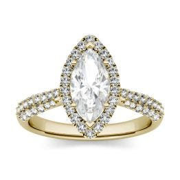 1.48 CTW DEW Marquise Forever One Moissanite Halo with Side Accents Engagement Ring 14K Yellow Gold