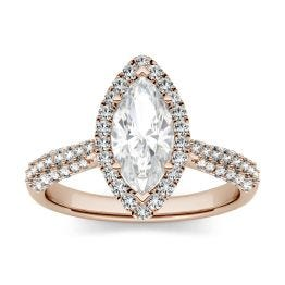 1.48 CTW DEW Marquise Forever One Moissanite Halo with Side Accents Engagement Ring 14K Rose Gold
