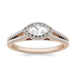 1.46 CTW DEW Marquise Forever One Moissanite East-West Halo Engagement Ring 14K Rose Gold