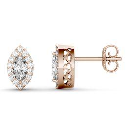 1.29 CTW DEW Marquise Forever One Moissanite Halo Stud Earrings 14K Rose Gold