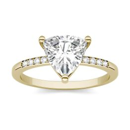 1.68 CTW DEW Trillion Forever One Moissanite Solitaire with Side Accents Ring 14K Yellow Gold