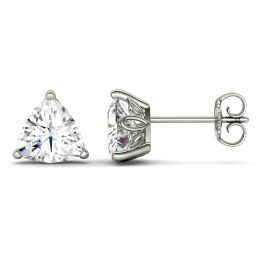 1.00 CTW DEW Trillion Forever One Moissanite Solitaire Studs with Floral Setting Earrings 14K White Gold
