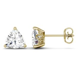1.00 CTW DEW Trillion Forever One Moissanite Solitaire Studs with Floral Setting Earrings 14K Yellow Gold