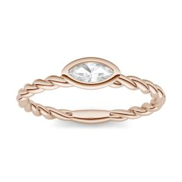 0.23 CTW DEW Marquise Forever One Moissanite Twisted Bezel Set Ring 14K Rose Gold