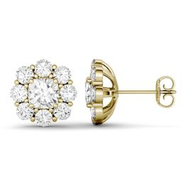 3.20 CTW DEW Cushion Forever One Moissanite Floral Stud Earrings 14K Yellow Gold