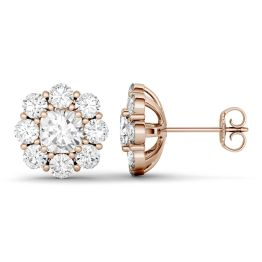 3.20 CTW DEW Cushion Forever One Moissanite Floral Stud Earrings 14K Rose Gold