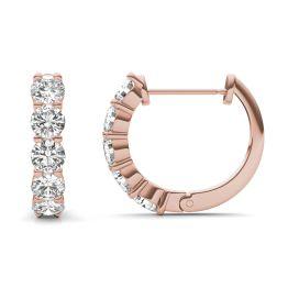 1.60 CTW DEW Round Forever One Moissanite Mini Hoop Earrings 14K Rose Gold