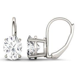 3.00 CTW DEW Oval Forever One Moissanite Leverback Earrings 14K White Gold