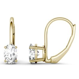 1.00 CTW DEW Oval Forever One Moissanite Leverback Earrings 14K Yellow Gold