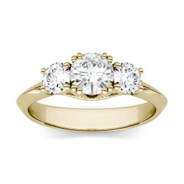 1.06 CTW DEW Round Forever One Moissanite Three Stone Engagement Ring 14K Yellow Gold