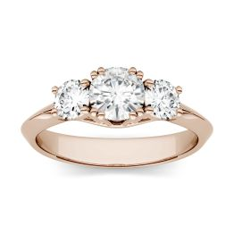 1.06 CTW DEW Round Forever One Moissanite Three Stone Engagement Ring 14K Rose Gold