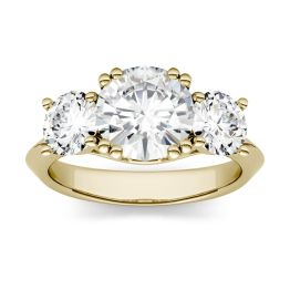 3.10 CTW DEW Round Forever One Moissanite Three Stone Engagement Ring 14K Yellow Gold