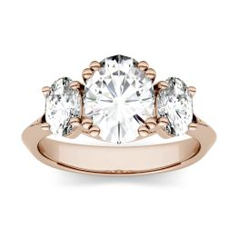 3.10 CTW DEW Oval Forever One Moissanite Three Stone Engagement Ring 14K Rose Gold