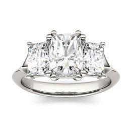 3.20 CTW DEW Radiant Forever One Moissanite Three Stone Engagement Ring 14K White Gold