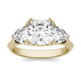 3.00 CTW DEW Cushion Forever One Moissanite Three Stone Engagement Ring 14K Yellow Gold