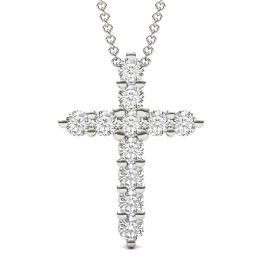 1.10 CTW DEW Round Forever One Moissanite Cross Necklace 14K White Gold