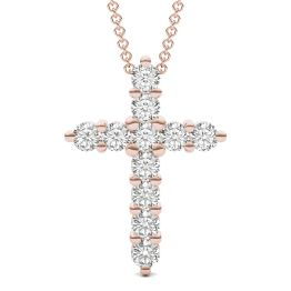 1.10 CTW DEW Round Forever One Moissanite Cross Necklace 14K Rose Gold