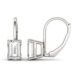2.02 CTW DEW Emerald Forever One Moissanite Leverback Earrings 14K White Gold
