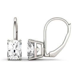 2.40 CTW DEW Radiant Forever One Moissanite Leverback Earrings 14K White Gold