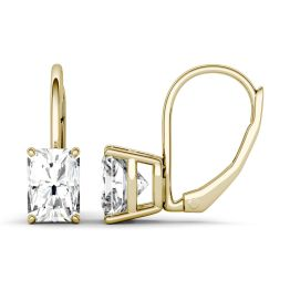 2.40 CTW DEW Radiant Forever One Moissanite Leverback Earrings 14K Yellow Gold