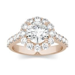 2.60 CTW DEW Round Forever One Moissanite Halo with Side Accents Engagement Ring 14K Rose Gold