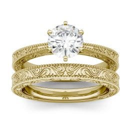 1.00 CTW DEW Round Forever One Moissanite Tapered Six Prong Carved Solitaire Bridal Set Ring 14K Yellow Gold