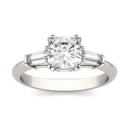 1.38 CTW DEW Cushion Forever One Moissanite Three Stone Engagement Ring Platinum