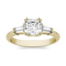 1.47 CTW DEW Cushion Forever One Moissanite Three Stone Engagement Ring 14K Yellow Gold