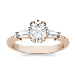 1.27 CTW DEW Oval Forever One Moissanite Three Stone Engagement Ring 14K Rose Gold