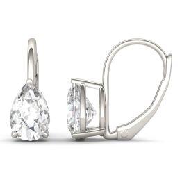 1.88 CTW DEW Pear Forever One Moissanite Drop Earrings 14K White Gold