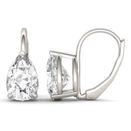 3.00 CTW DEW Pear Forever One Moissanite Drop Earrings 14K White Gold