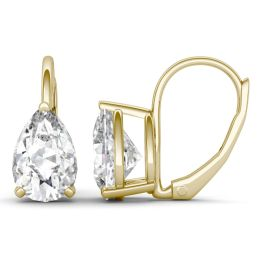 3.00 CTW DEW Pear Forever One Moissanite Drop Earrings 14K Yellow Gold