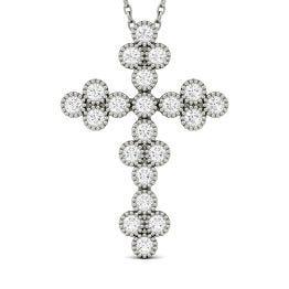 0.47 CTW DEW Round Forever One Moissanite Milgrain Cross Pendant Necklace 14K White Gold