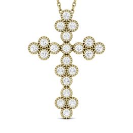 0.47 CTW DEW Round Forever One Moissanite Milgrain Cross Pendant Necklace 14K Yellow Gold