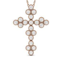 0.47 CTW DEW Round Forever One Moissanite Milgrain Cross Pendant Necklace 14K Rose Gold
