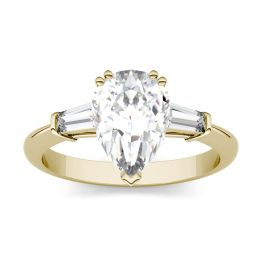 2.47 CTW DEW Pear Forever One Moissanite Three Stone Engagement Ring 14K Yellow Gold