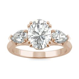 2.96 CTW DEW Oval Forever One Moissanite Pear Three Stone Engagement Ring 14K Rose Gold