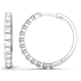 1.08 CTW DEW Round Forever One Moissanite Shared Prong Hoop Earrings 14K White Gold