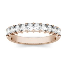 1.80 CTW DEW Square Forever One Moissanite Shared Prong Anniversary Band Ring 14K Rose Gold