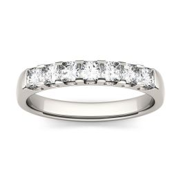 0.84 CTW DEW Square Forever One Moissanite Shared Prong Anniversary Band Ring 14K White Gold