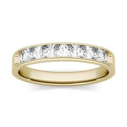1.26 CTW DEW Square Forever One Moissanite Channel Set Anniversary Band Ring 14K Yellow Gold