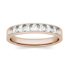 1.26 CTW DEW Square Forever One Moissanite Channel Set Anniversary Band Ring 14K Rose Gold
