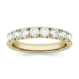 1.20 CTW DEW Round Forever One Moissanite French Pave Anniversary Band Ring 14K Yellow Gold