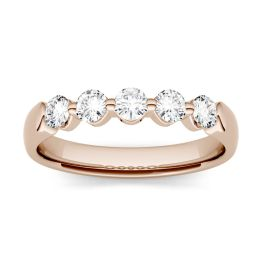 0.50 CTW DEW Round Forever One Moissanite Shared Prong Anniversary Band Ring 14K Rose Gold