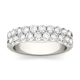 1.00 CTW DEW Round Forever One Moissanite Two Row Shared Prong Anniversary Band Ring 14K White Gold
