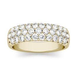 0.93 CTW DEW Round Forever One Moissanite Three Row Pave Anniversary Band Ring 14K Yellow Gold