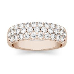 0.93 CTW DEW Round Forever One Moissanite Three Row Pave Anniversary Band Ring 14K Rose Gold