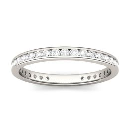 0.55 CTW DEW Round Forever One Moissanite Channel Set Eternity Band Ring 14K White Gold